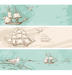 Vintage horizontal banners with sailing ships vector