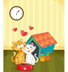 Kittens in love vector