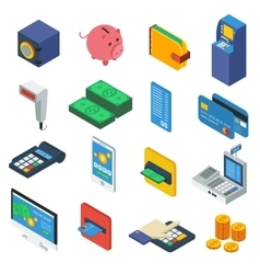 ATM Isometric Icons Set vector image