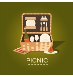 A picnic basket vector