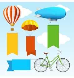 Airship transport banners vector