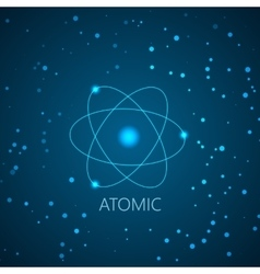 Background with blue shining atom scheme and light vector