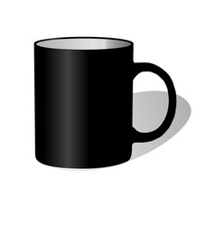 Black big ceramic cup with black handle vector