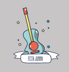 Blue guitar related with festa junina celebration vector