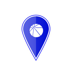 blue map pointer with basketball vector image