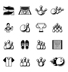 Bowling black icons signs and symbols vector