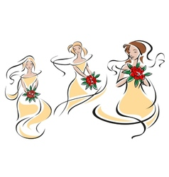 Brides or bridesmaids silhouettes with flowers vector