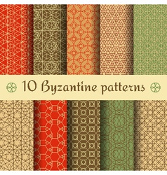 Byzantine seamless patterns set vector image vector image