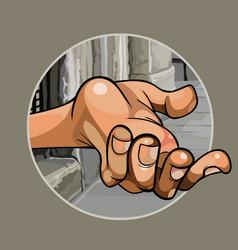 Cartoon hand of a beggar in the street close up vector