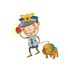 Close-up of man with dog vector image