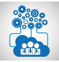 cloud network group cooperation connection design vector image