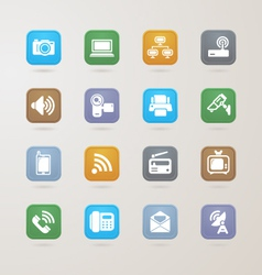 Communication and media icons set vector image vector image
