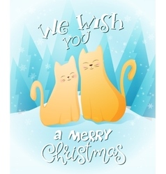couple flat ginger cats vector image