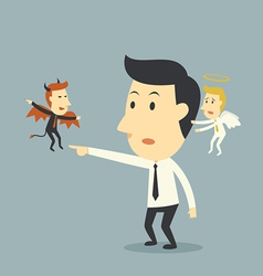 Devil and angel with businessman vector