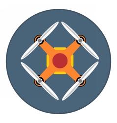 Digital orange drone with recording camera vector