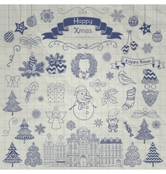 Hand drawn christmas doodle icons on notebook vector