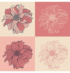 Hand-drawn flowers of dahlia set of four vector image vector image