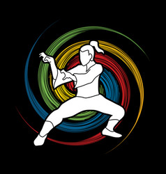 Kung fu fighting tiger action graphic vector