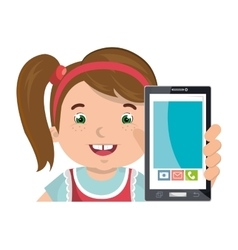 Little kid online with smartphone vector