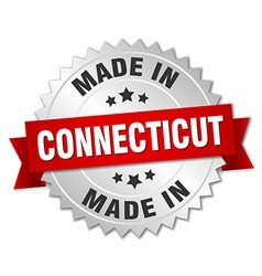Made in connecticut silver badge with red ribbon vector