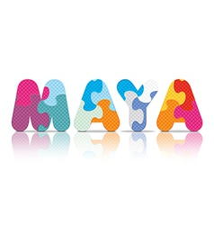 Maya written with alphabet puzzle vector