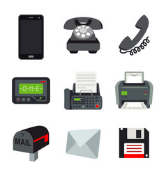 Phone mobile fax printer beeper letter mail vector