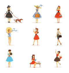 Retro girls characters set beautiful young women vector
