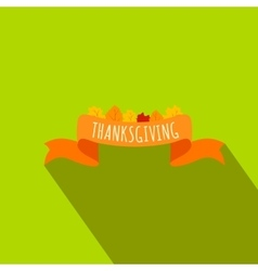 Ribbon thanksgiving flat icon vector image vector image
