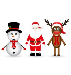 Santa Claus a reindeer and a snowman vector image vector image