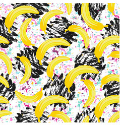 Seamless hipster pattern bananas texture print vector
