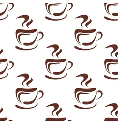 Seamless pattern with steaming coffee cups vector