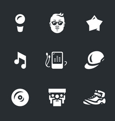 set of music rap star icons vector image