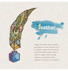 Sketch of decorative feather vector