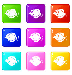 Tang fish zebrasoma flavescens icons 9 set vector