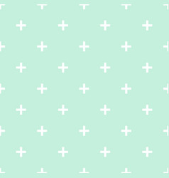 tile cross plus mint green and white pattern vector image vector image
