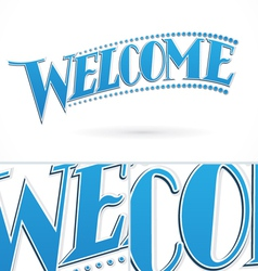 Blue welcome lettering design vector