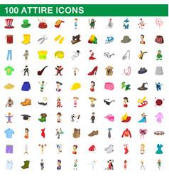 100 attire icons set cartoon style vector image
