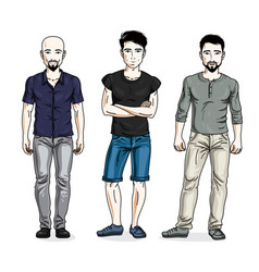 Handsome men posing wearing casual clothes vector