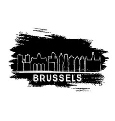 Brussels skyline silhouette hand drawn sketch vector