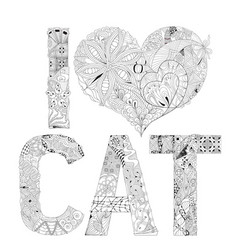 word i love cat for coloring decorative vector image