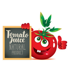 Banner for fresh juice with funny tomato vector