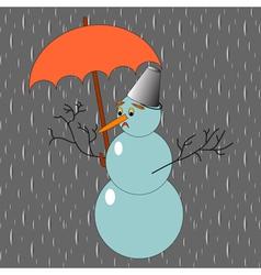 A sad snowman with umbrella in the rain vector image