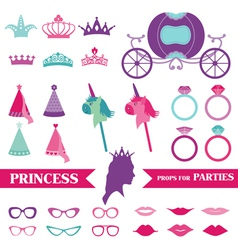Princess Party set - photobooth props vector image