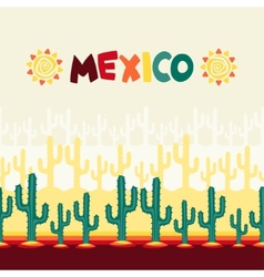 Mexican seamless pattern with cactus in native vector