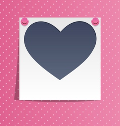 Love photo frame on wall with pink pins on pink vector