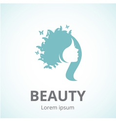 Abstract logo woman face in profile vector