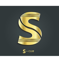 Golden symbol from alphabet letter s vector