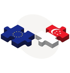 European union and singapore flags in puzzle vector