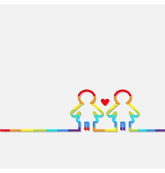 Gay marriage Pride symbol Two rainbow contour vector image