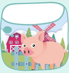 Border design with pig and barn vector image